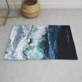 Dark Blue Waves Rug