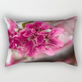 Droplets on Dark Pink Crabapple Blossoms Rectangular Pillow