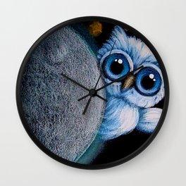 TINY BLUE ANGEL OWL BEHIND THE MOON Wall Clock