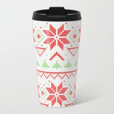 Knitted Christmas retro pattern Metal Travel Mug