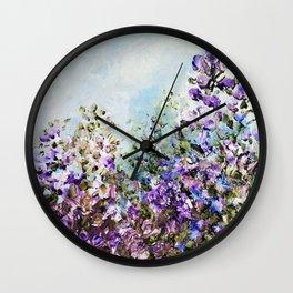 Floral Garden Impressionism in Pretty Purple Wall Clock