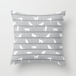 Cats Pattern (Grey) Throw Pillow