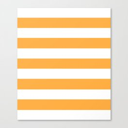 Yellow Orange - solid color - white stripes pattern Canvas Print