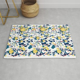 Buttercup yellow, salmon pink, and navy blue flowers on white background pattern Rug