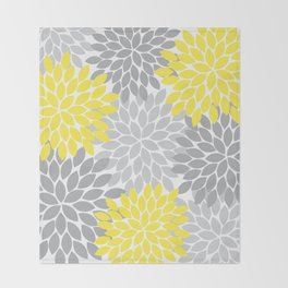 Yellow Gray Flower Burst Petals Floral Pattern Throw Blanket