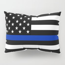 Blue Police Flag with Officers Pillow Sham