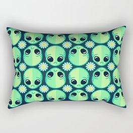 Sad Alien and Daisy Nineties Grunge Pattern Rectangular Pillow