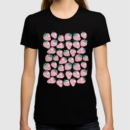 Pink Strawberry pattern on purple background T-shirt