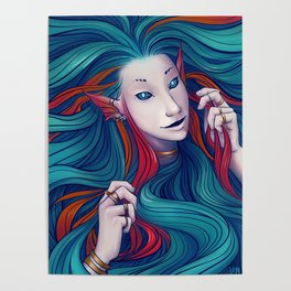 a fish with a lot of hair Poster