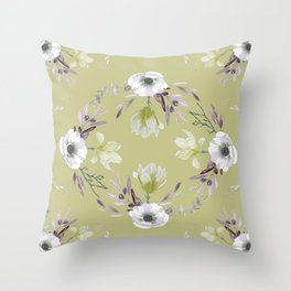 Floral Square Yellow Throw Pillow