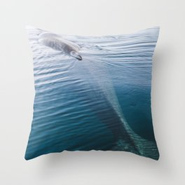 Whale bathing in the Sun of East Greenland Throw Pillow