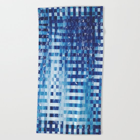 Nautical pixel abstract pattern Beach Towel