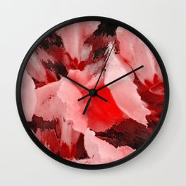 Red and Pink Snapdragons Floral Abstract Wall Clock