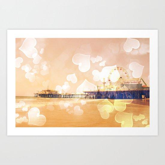Bokeh Hearts Santa Monica Pier Art Print