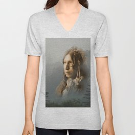 Peter Iron Shell, Sioux Indian Unisex V-Neck