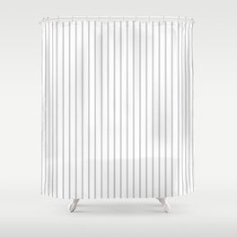 Dove Grey Pin Stripes on White Shower Curtain