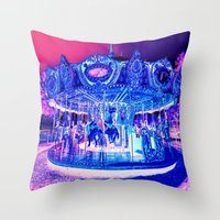 carousel Throw Pillows featuring Carousel Merry-G0-Round Pink Purple by WhimsyRomance&Fun
