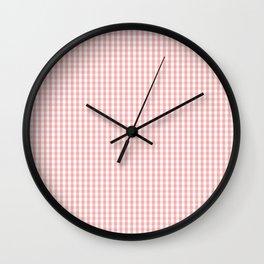 Mini Lush Blush Pink and White Gingham Check Plaid Wall Clock