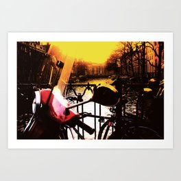 Red Golden Vespa in Amsterdam on the Canal Holland Photography Art Print