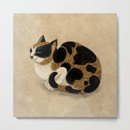 Minhwa: Dozing tricolor cat (Korean traditional/folk art) Metal Print
