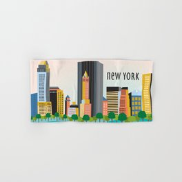New York City, New York - Skyline Illustration by Loose Petals Hand & Bath Towel