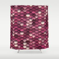 bisexual Shower Curtains featuring Pink sparkling scales by UtArt