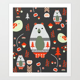 Christmas bears and birds Art Print