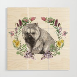 Wombat in Floral Wreath Wood Wall Art