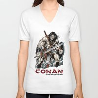 conan V-neck T-shirts featuring Conan by CromMorc