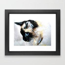 Siamese Cat Acrylic Painting Framed Art Print