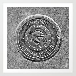 Astoria Storm Water, Monotone Art Print