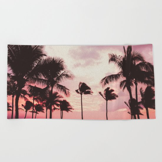 Tropical Palm Tree Pink Sunset Beach Towel