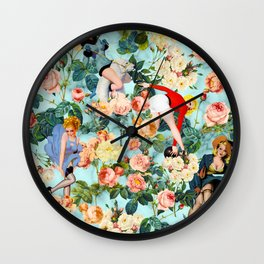 Floral and Pin Up Girls II Pattern Wall Clock