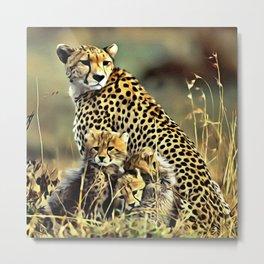 Cheetah and Babies Metal Print