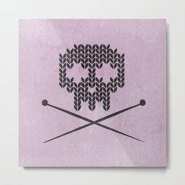 Knitted Skull (Black on Pink) Metal Print