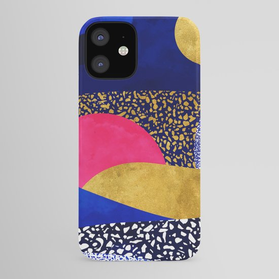 Terrazzo galaxy blue night yellow gold pink by sylvaincombe