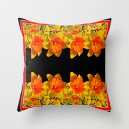 Ebony Black Night Golden Dafffodils Red Accents Throw Pillow