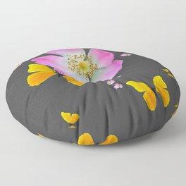 CHARCOAL GREY YELLOW BUTTERFLIES & PINK ROSES Floor Pillow