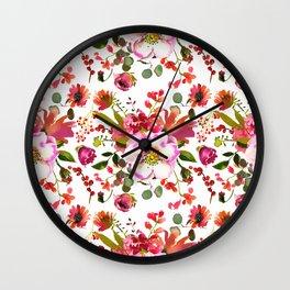 Blush pink orange green watercolor modern roses berries Wall Clock
