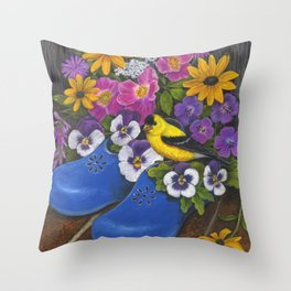 Goldfinch and Blue Garden Clogs Throw Pillow