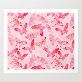Pink pastel Butterflies allover pattern Art Print