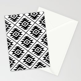 Aztec Symbol Pattern Black on White Stationery Cards