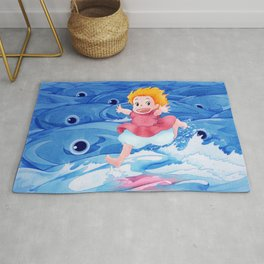 Ponyo Runs on Water with the Big Fishes Rug