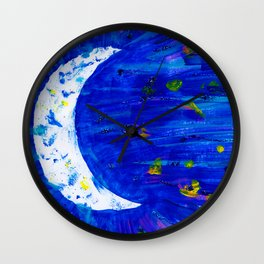 Glitter Crescent Moon Phase Wall Clock