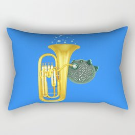 Puffer Fish Playing Tuba Rectangular Pillow