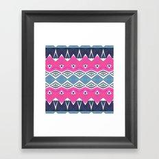 Geo Triangle Pink Navy 2 Framed Art Print