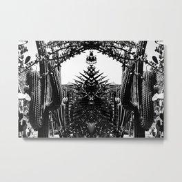 Cacti Garden Majorelle Marrakech Black and White Metal Print