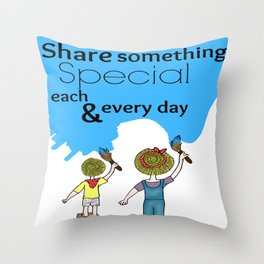Painting together Throw Pillow