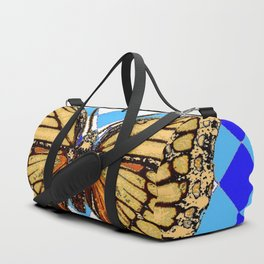 ABSTRACTED  BROWN SPICE  MONARCHS BUTTERFLY  &   BLUE-WHITE HARLEQUIN PATTERN Duffle Bag