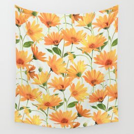 Painted Radiant Orange Daisies on off-white Wall Tapestry